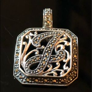 """AWESOME """"J"""" MARCASITE PENDANT"""
